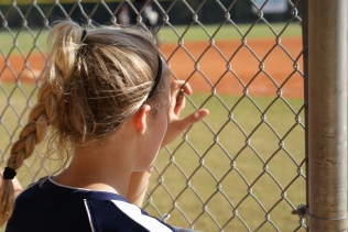 Morgan at softball game