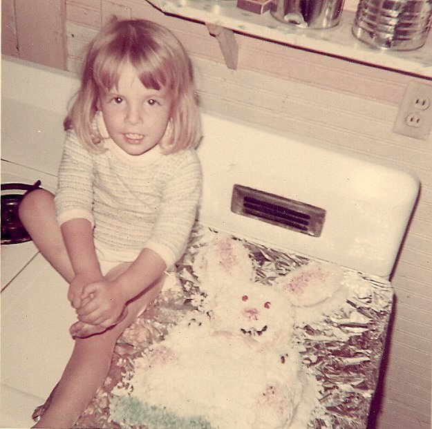 Me and my mom's version of the Easter Bunny cake around 69'