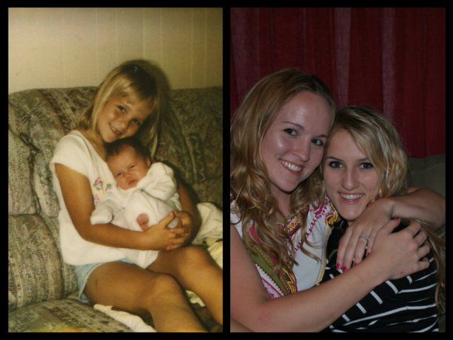 Ashley and Morgan; then and now